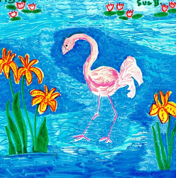 Sue Burgess Art Print featuring the painting Flamingo by Sushila Burgess