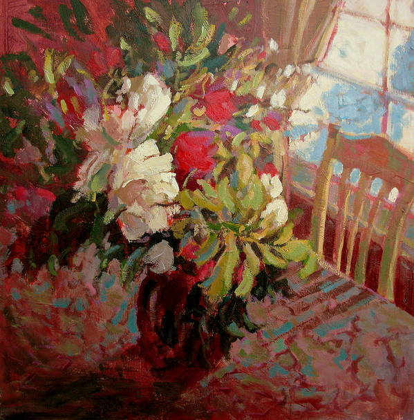 Flowers Art Print featuring the painting Flowers In Soft Light by Brian Simons