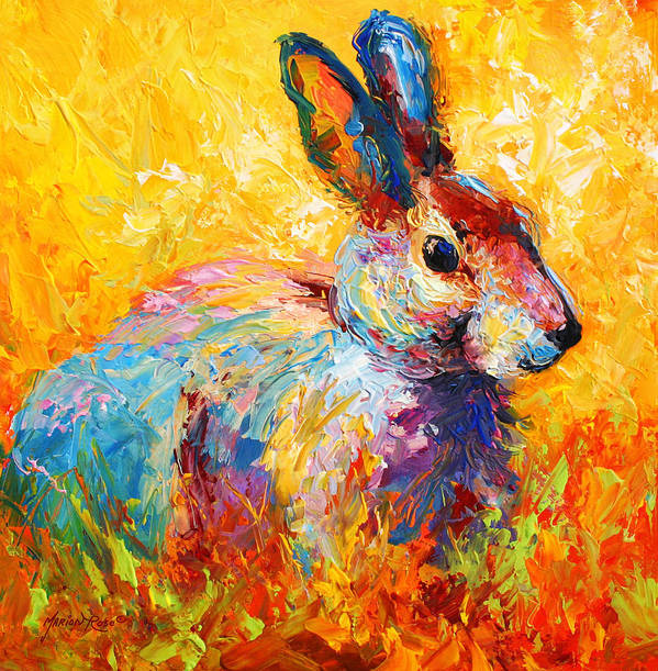 Rabbit Art Print featuring the painting Forest Bunny by Marion Rose