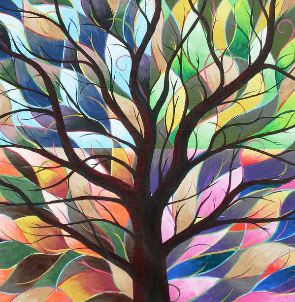 Tree Abstract Landscape Seasons Nature Art Print featuring the painting Four Seasons by Sally Van Driest