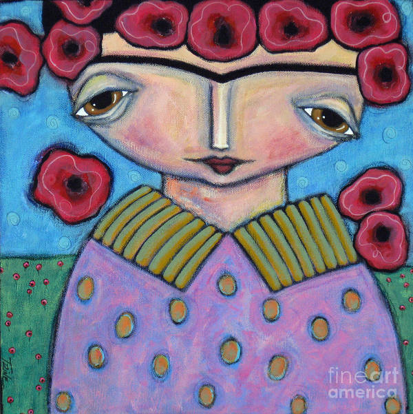 Frida Art Print featuring the painting Frida In The Blooms by Trine Stasica
