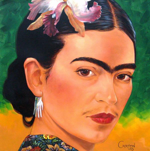 Frida Kahlo Art Print featuring the painting Frida Kahlo 2003 by Jerrold Carton