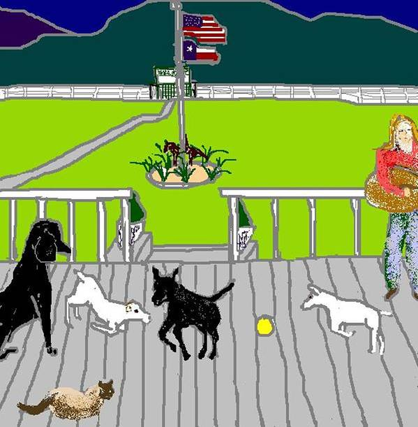 Dogs Art Print featuring the digital art Front Porch Fun by Carole Boyd