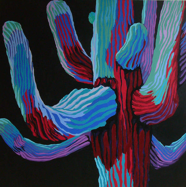 Saguaro Cactus Art Print featuring the painting Full Moon by Sandy Tracey