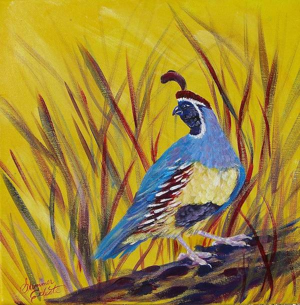 Southwest Art Print featuring the painting Gamble Quail by Summer Celeste