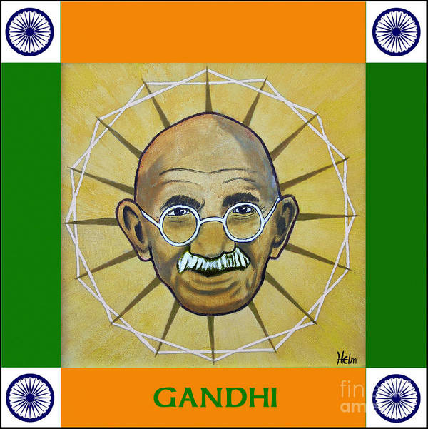 Gandhi Art Print featuring the painting Gandhi Portrait by Paul Helm