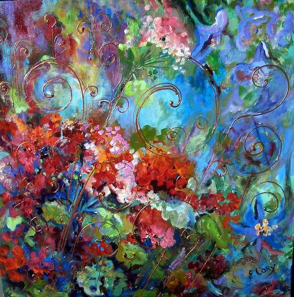 Floral Art Print featuring the painting Geranium Garden by Elaine Cory
