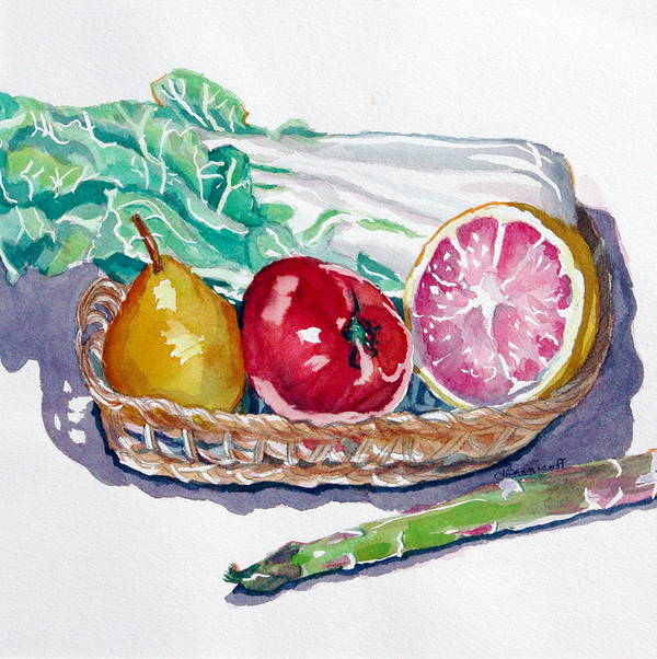 Still Life Art Print featuring the painting Gift Basket by Jan Bennicoff