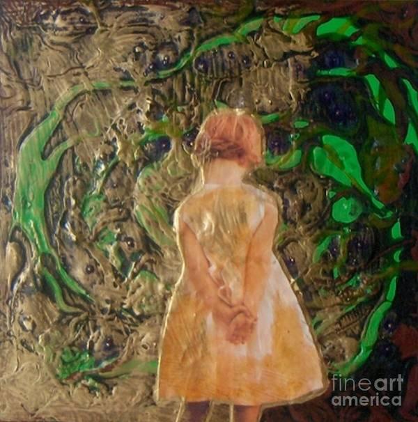 Little Girl. Girl Art Print featuring the painting Girl And A Beanstalk by Michaela Kraemer