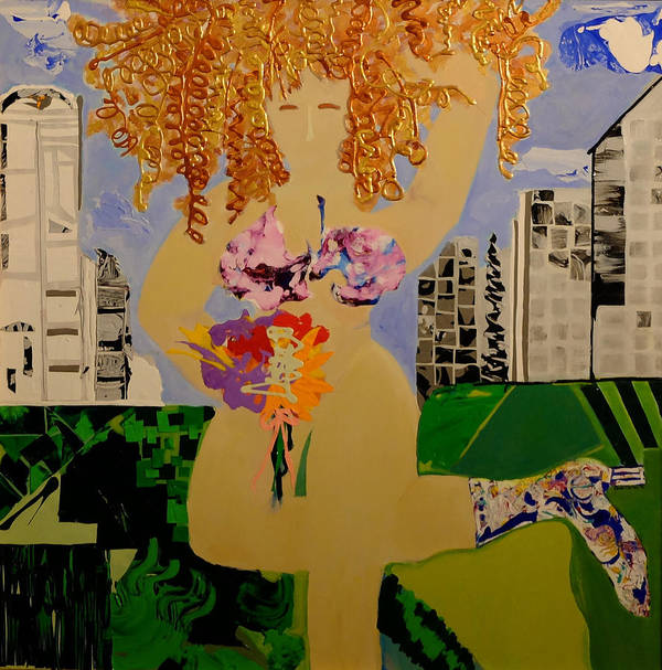 Acrylic Art Print featuring the painting Girl In The City by Gail Goren