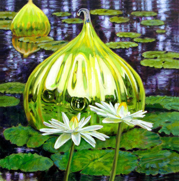 Water Lilies Art Print featuring the painting Glass Among The Lilies by John Lautermilch
