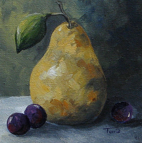 Pear Art Print featuring the painting Gold Pear With Grapes by Torrie Smiley