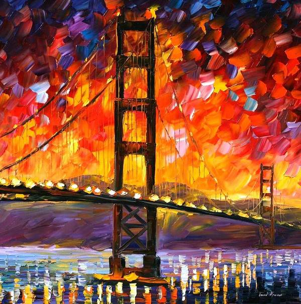 City Art Print featuring the painting Golden Gate Bridge by Leonid Afremov