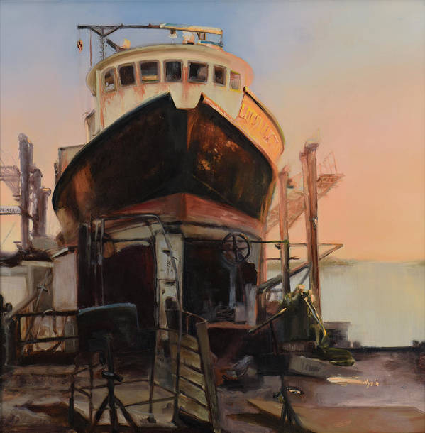 Boat Art Print featuring the painting Golden Nugget by Donna Lee Nyzio