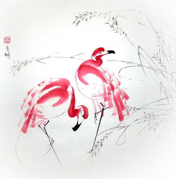 Flamingo Art Print featuring the painting Graceful Pair by Ming Yeung