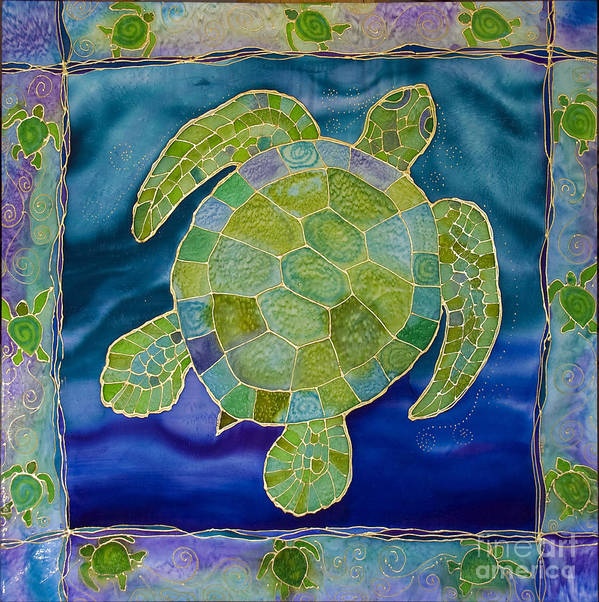 Green Sea Turtle Art Print featuring the tapestry - textile Green Sea Turtle Silk Painting by PattyMara Gourley