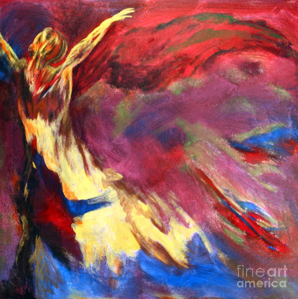 Abstract Art Print featuring the painting Guardian Angel by Denice Rinks