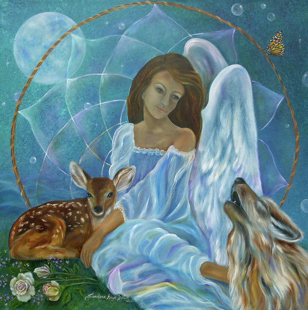 Angel Art Print featuring the painting Guardian Of Truth by Sundara Fawn