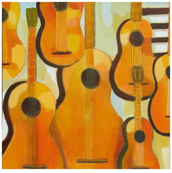 Abstract Art Print featuring the painting Guitars by Habib Ayat