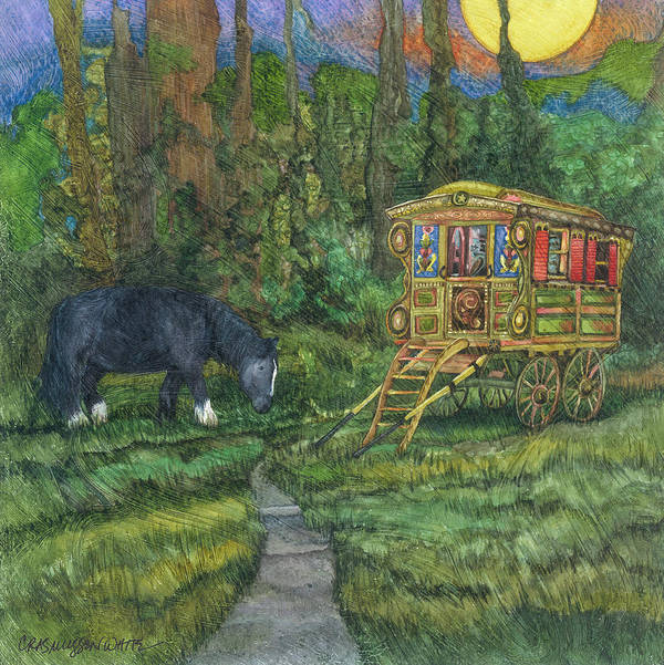 Gypsy Wagon Art Art Print featuring the painting Gwendolyn's Wagon by Casey Rasmussen White