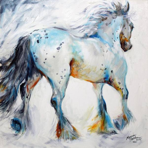 Oil Art Print featuring the painting Gypsy Vanner Motion Paint Sketch by Marcia Baldwin