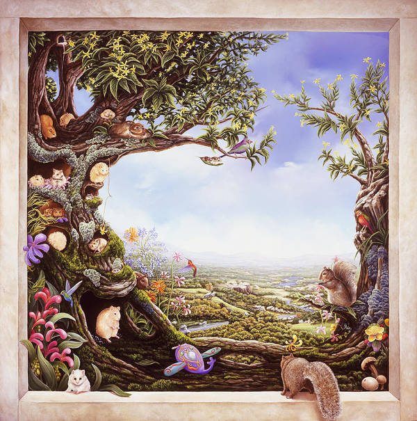 Hamster Tree Window. Hamster Tree Art Print featuring the painting Hamster Tree Window by Mary Johnson