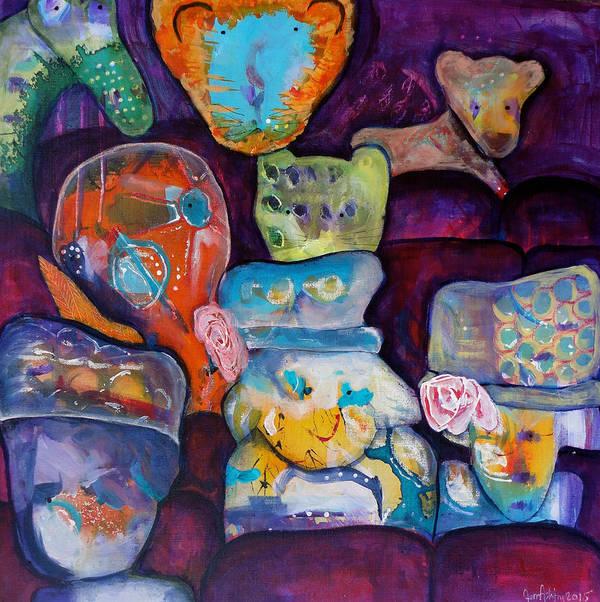 Bear Cub Art Print featuring the painting Hats by Jenn Ashton
