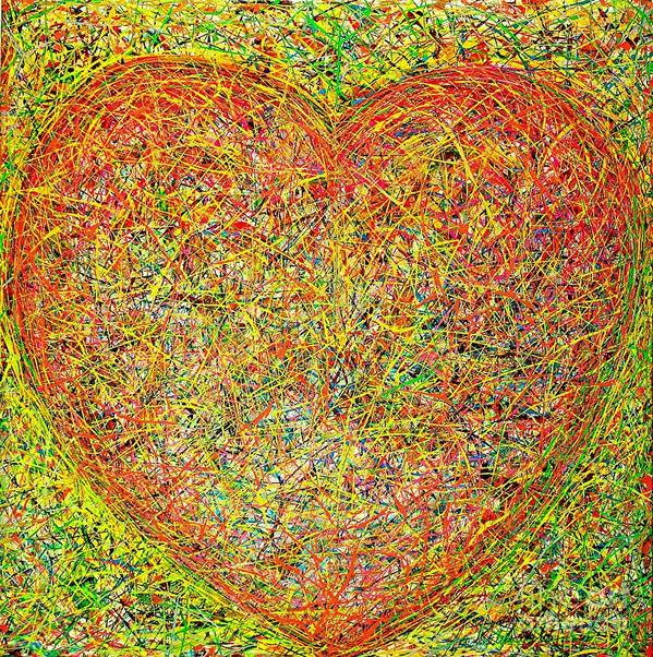 Mixed Media On Canvass Art Print featuring the painting Heart by Teo Santa