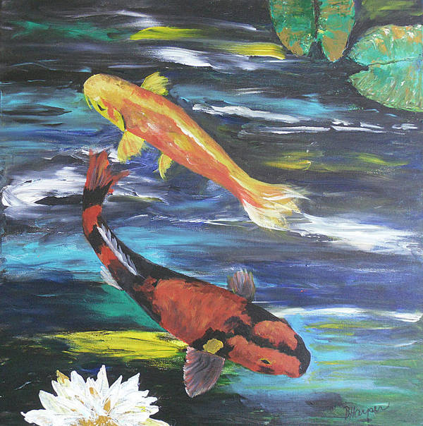 Koi Art Print featuring the painting Hi Utsuri And Doitsu Koi by Barbara Harper