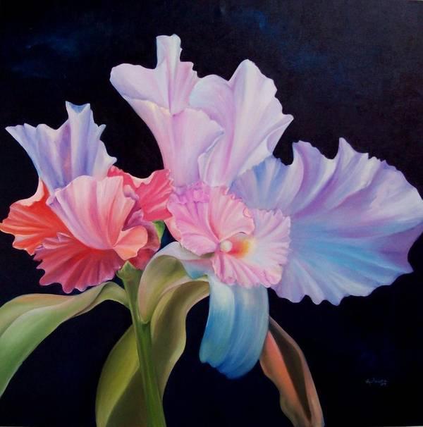 Flowers Art Print featuring the painting Honney Orquid by Elsa Gallegos