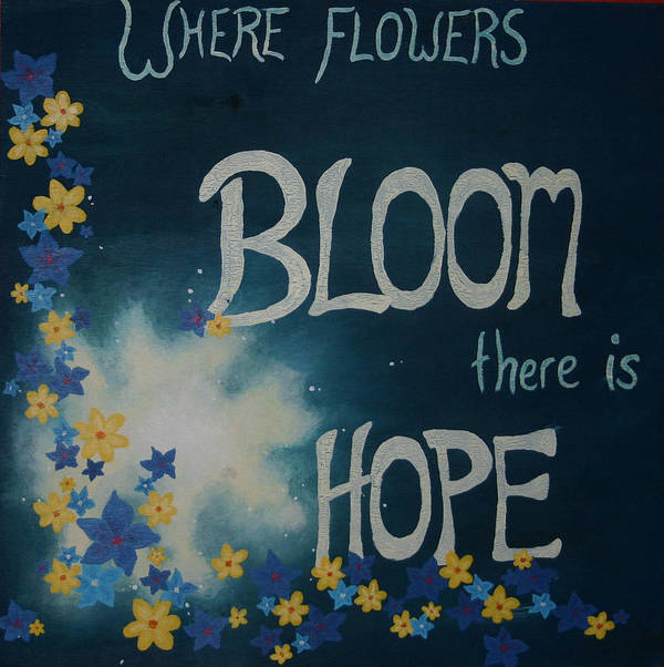 Flowers Art Print featuring the painting Hope Blossoms by Amanda Clark