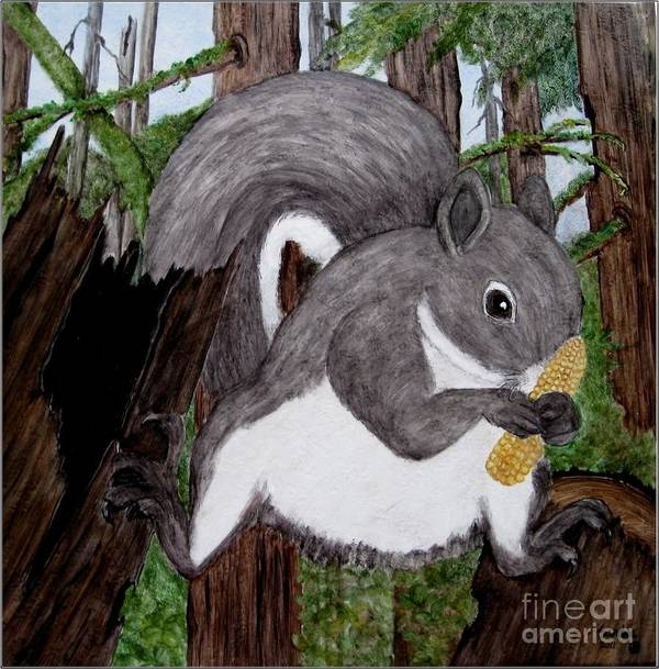Grey Squirrel Art Print featuring the painting I Got The Corn by Sandra Maddox
