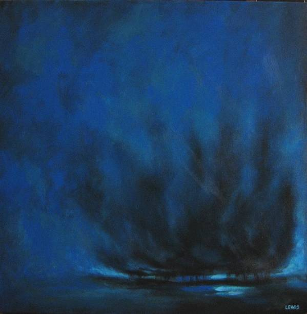 Teal Art Print featuring the painting Indigo by Ellen Lewis
