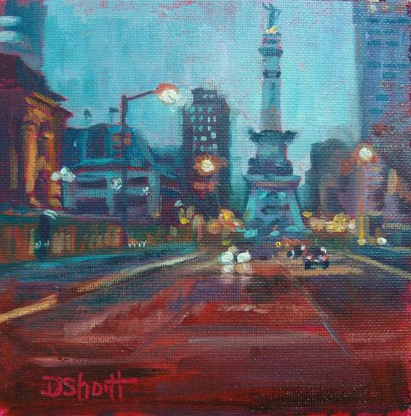 Indianapolis Art Print featuring the painting Indy Circle Night by Donna Shortt