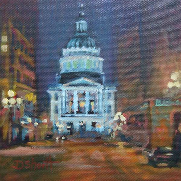 Indianapolis Print featuring the painting Indy Government Night by Donna Shortt