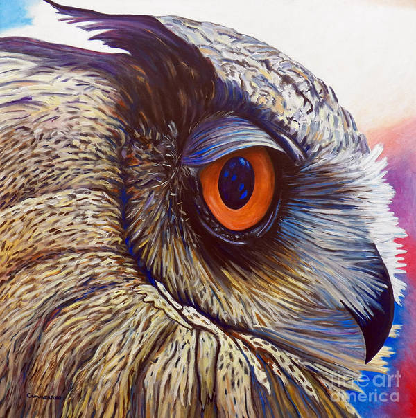 Owl Art Print featuring the painting Introspection by Brian Commerford
