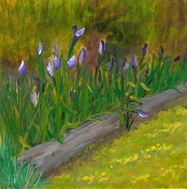 Iris Art Print featuring the painting Iris Procession by Wanda Pepin