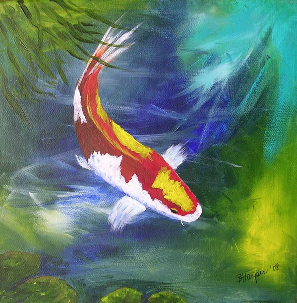 Fish Art Print featuring the painting Kohaku Koi by Barbara Harper