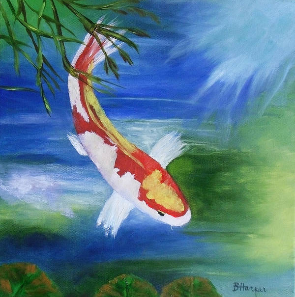 Koi Art Print featuring the painting Kohaku Koi Fish 2 by Barbara Harper