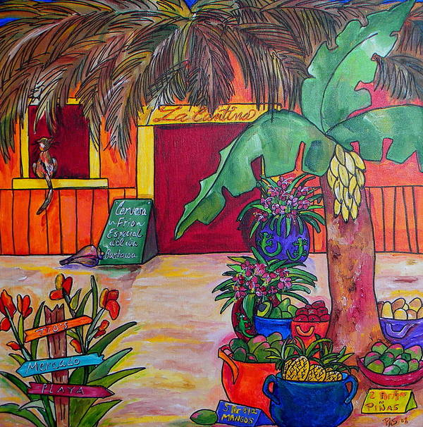 Mexico Art Print featuring the painting La Cantina by Patti Schermerhorn