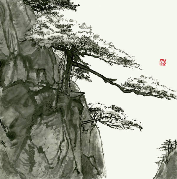 Huangshan Art Print featuring the painting Landscape - 76 by River Han