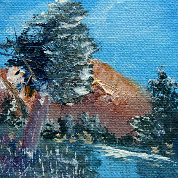 Landscape Art Print featuring the painting Leaning Pine Tree Landscape by Jera Sky