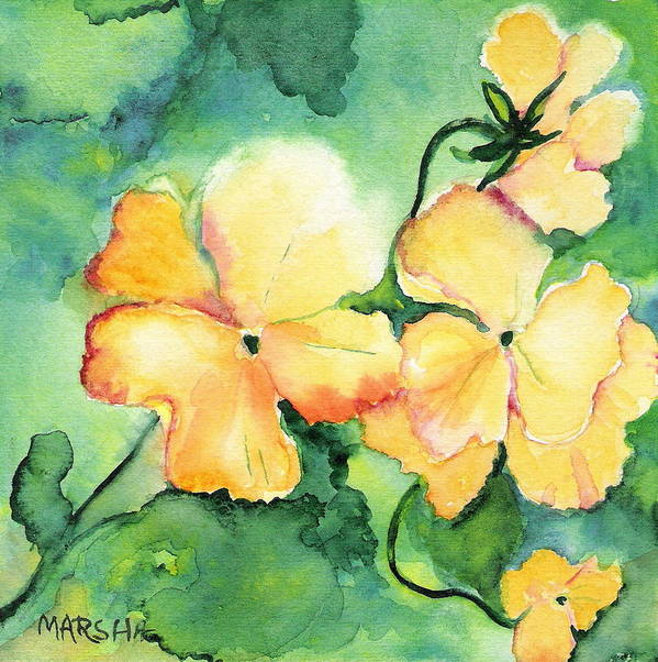 Yellow Pansy Green Floral Watercolor Painting Art Print featuring the painting Let The Sun Shine Down by Marsha Woods