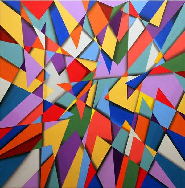 Abstract Based On The New Wing Of The Denver Art Museum Art Print featuring the painting Libskind by Marston A Jaquis