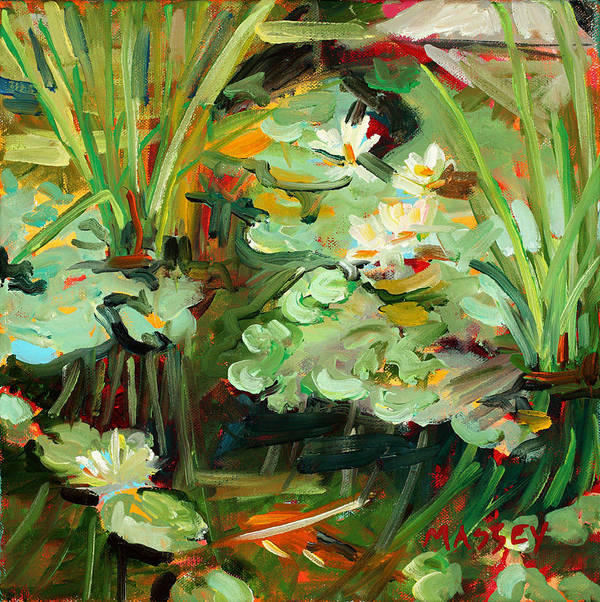 Lily Pond Art Print featuring the painting Lily Ponderings by Marie Massey