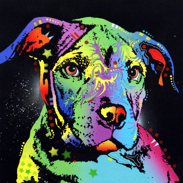 Dog Art Print featuring the painting Little Pittie Warrior by Dean Russo
