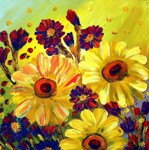 Flowers Art Print featuring the painting Looking At Sun by Luiza Vizoli