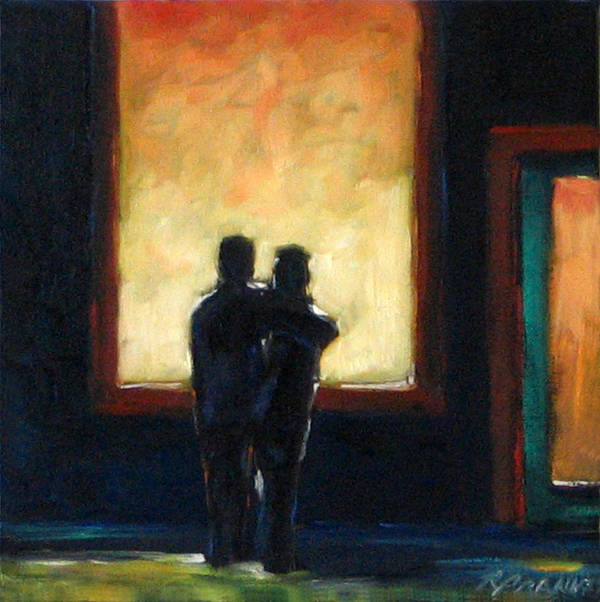 Town Art Print featuring the painting Looking In Looking Out Mini by Richard T Pranke
