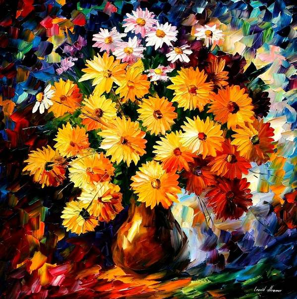 Flowers Art Print featuring the painting Love Irradiation by Leonid Afremov