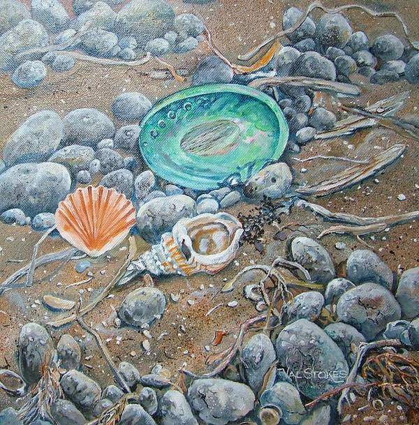 Shells Art Print featuring the painting Lowtide Treasures by Val Stokes